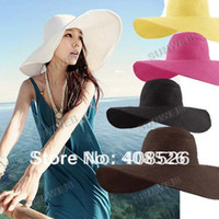Beanie/Skull Cap Sun Hats Solid 5pcs lot Fashion Jewelry Hollywood sexy lovely wide wire brim Summer Beach Sun Straw hat 3171