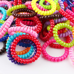 Wholesale Increase the number of candy colored telephone coil telephone hair ring telephone rings hair rubber band hair tie
