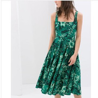 Casual Dresses V_Neck Sheath 5201- and the wind spring 2014 Couture sling wide swing dress all-match sleeveless vest dress winter dress women summer dress new 2014