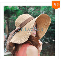 Wholesale and Retail Fashion Women Wide Large Brim Floppy Summer Beach Sun hat Straw Hat Cap with big bow Colors options