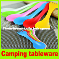 Wholesale 6x Spoon Fork Knife Three in one Combo Gadget Cutlery portable outdoor tableware travel Picnic tableware Camping Hiking Utensils H
