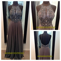 long prom dresses - 2014 backless long prom Dresses with crystal and Beading and spaghetti straps formal evening dresses