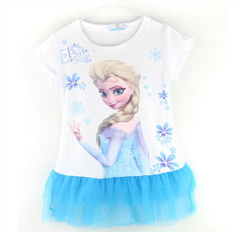 2014 new summer dress baby girl ELSA frozen and children's clothing girl baby clothes blue