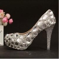 Wedding High Heel Round Toe luxury 2014 Silver Custom Make plus size high heel crystals and rhinestones bridal wedding shoes Diamond Lady Shoes for Wedding Party Prom