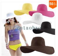 Wholesale Fashion Women s Ladies Foldable Wide Large Brim Floppy Summer Beach Hat Sun Straw Hat Cap Drop Shipping