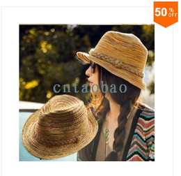 Wholesale Fashion Women Men Straw Braid Fedoras Jjazz Hat Cap Beach Cap Sun Hat hat summer beach straw hats
