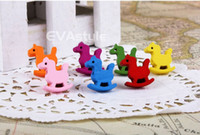 Wholesale 100 mm X mm Golden Pin Mix Color Wood Small Cartoon Wooden Horse Head Thumb Tack Gear Nail Map Pin Bubble Nail