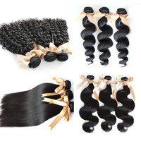 Wholesale 5A quot quot Unprocessed Brazilian Virgin Hair Extensions Human Hair Weave Natural Color Body Wave Straight Loose Wave Curly