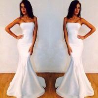 Wholesale 2014 Simple Summer Beach Bridesmaid Dresses Satin Mermaid Strapless Sleeveless Floor Length Zipper Back Formal Prom Gowns Under