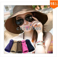 Wholesale 2014 Korean summer women Visors collapsible sun hat lady fashion colorful foldable outdoors straw hats