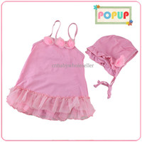 Two-piece designer one piece dress - Fashion Designer Girls Swimwear Cute Pink Nylon And PU One piece Dresses With Flowers And Hat Girls Summer Bathing Suit SR40416