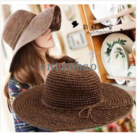 Wholesale New Fashion Beach Sun Beach Bowtie Strw Hats Boho Style Large Hat Topee Weaved and Knited Women s Straw hats