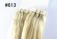 Brazilian Hair #1,1B,2,4,6,8,18,27,33,60,613,RED,BURG Straight New fashion Brazilian Human Tape hair extension Light Color #613 Remy Straight Hair PU Skin Weft Hair Extension 40pc set 3sets lot Grade 5A