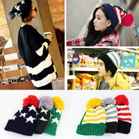 Wholesale Winter Autumn Five pointed Star Roll Up Sphere Men Women Knitted Hat Lover American Flag Star Stripes Bobble Beanies Cap Unisex H3133