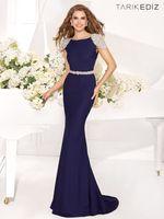 Reference Images Crew Satin 2014 Fashion Elegant Promotion New Beaded Mermaid Backless Foor Length Long Evening Dresses Prom Cap Sleeve Tarik Ediz Dress