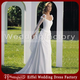 Wholesale Celtic Wedding Dresses A Line Scoop Neck Ruffled Bridal Gowns with Long Sleeves
