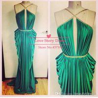 Wholesale 2014 green backless formal evening dresses sexy halter ruffles floor length long prom dresses graduation dresses evening gowns BO5195