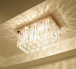 Modern Fashion Glass Crystal Chandeliers K9 Crystal Rectangle Ceiling Light Living Room Balcony Aisle Bedroom Chandelier Ceiling Lamp Lights