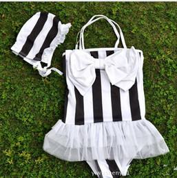 Wholesale New Arrival Children s Stripe Swimwear Girl s Baby Children s Cute Big Bowknot Swimsuit Hat Kids Beach Clothes S0429