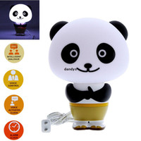 Wholesale Cute Kung Fu Panda Style LED Intelligent Light Desk Table Lamp English Voice Activated Control led lighting Alarm Clock dandys