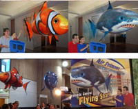 Wholesale 1404c RC Remote Control Air Flying Fish Shark Clownfish Inflatable Toy Swimming Fish Swimmers In The Air
