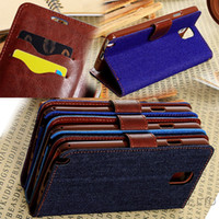 Wholesale 30pcs Credit Card Slots Luxury Denim Jeans Leather Case For Samsung Galaxy Note Note III N9000 Flip Cover Stand Phone Bag