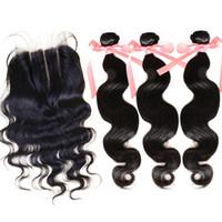 Peruvian Virgin Hair Extensions 1PC Human Hair Lace Closure ...