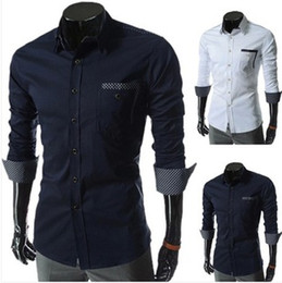 Wholesale New Style Slim Latticed Shirt Lapel Collar Long Sleeve Single Breasted Cotton Blended Business Casual Men s Summer Colors Shirts E273