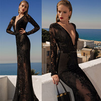 Wholesale 2014 Sexy Black Deep V Neck Evening Dresses Lace Applique Sheath Long Sleeves Floor Length Charming Sheer Prom Celebrity Gowns