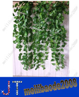 green leaves - O76 cm Artificial Ivy Vine Green Leaves Foliage Simulation Plant Bouquet Wedding Party Home Pipes Decoration