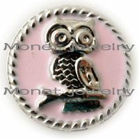 big eye bracelets - A09730 girls favorite pink big eyes bird OWL noosa chunk jewelry for girls bracelets