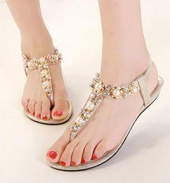 Bohemian rhinestone sandals pearl crystal beaded sandals flat heel flip flops women cheap beach sandals gold black EU40 ePacket