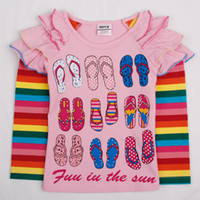 Girl Spring / Autumn Long Nova brand new arrival fashion baby clothes 2y-6y girls t-shirt slipper shoes printing strass cute tops cotton long sleeve autumn tee