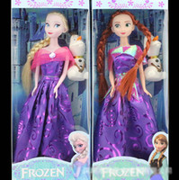 Wholesale 1404z frozen doll in box plastic new purple Anna Elsa baby doll action figures frozen dolls toys