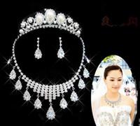 Tiaras&Crowns Rhinestone/Crystal  Shining Wedding Bridal Crystal Veil Tiara Crown Headband Bridal Accessories Tiaras Hair Accessories+necklace+earrings One set T03