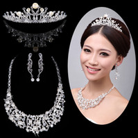 Tiaras&Crowns Rhinestone/Crystal  Shining Wedding Bridal Crystal Veil Tiara Crown Headband Bridal Accessories Tiaras Hair Accessories+necklace+earrings One set T04