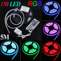 Wholesale 5M SMD RGB led Strip IP66 Waterproof Colorful LED String Light keys Remote Controller for christmas wedding part dandys