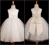 Real Photos Girl Hand Made Flower Custom Made 2014 New White Flower Girls Dresses High Neck With Ribbon Handmade Flower Zipper Back Tulle Ball Gowns Little Girl Formal Dress