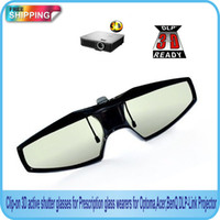 Wholesale Clip on D active shutter glasses for Prescription glass wearers for D DLP Link Projector