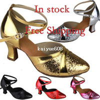 Wholesale In stock fashion ladies closed toe latin ballroom dance shoes cm Heels Satin EU Size pairs
