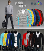 Wholesale 8 Colors Fashion Men Long Sleeves Single Breasted Knitwear Slim Fit V Neck Cardigan Sweater Size Drop Shipping