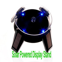 Wholesale Freeshipping Solar Powered Jewelry Phone Watch Rotating Display Stand Turn Table with LED Light Black Dropshipping dandys