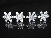 Wholesale 100 Snowflake Pearl Crystal Bridal Wedding Prom Hair Pins Hair Accessory
