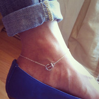Trendy   8%off!high quality!2014 new arrivals!Sideways anchor anklet, sterling silver chain, must have item!DROP SHIPPING!hot sale!cheap!6pairs