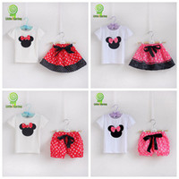 Cheap new baby girls 2 pieces sets kids Minnie Mouse t-shirt + polka dot skirt shorts outfits children lovely bow tops child bloomers suits