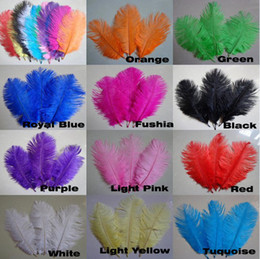 wholesale 200pcs lot 5-8inch Hot Pink Yellow White Black Red Orange Turquoise Royal Blue Ostrich Feather for wedding table centerpiece