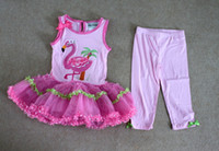 pink flamingos - Rare editions Girls Clothing Set Pink Flamingo Bow Dot Lace Tutu Dress amp leggings Tights Suits Kids Flaming Summer Outfit Party Dress