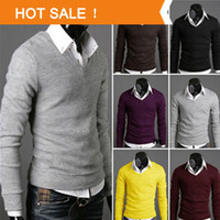 Wholesale High Quality Casual Sweater Men Pullovers Brand Spring Autumn Knitting long sleeve V neck Knitwear Sweaters Plus size XXL