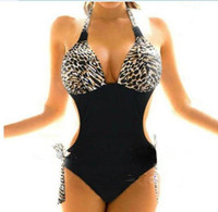 Polyester plus size swimwear - Hot Sale Sexy Women Plus Size ONE Piece Monokini Leopard Bikini Sets Back Tied Halter Swimwear Swimsuit Bathing Suit S M L XL XXL