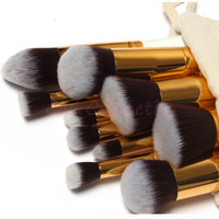 Wholesale 10 Professional Make up Brushes Set Make up Brushes Kit Free Draw String Makeup Bag